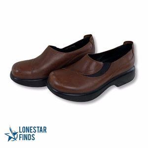 Dansko Brown Leather Slip On Comfort Work Clogs